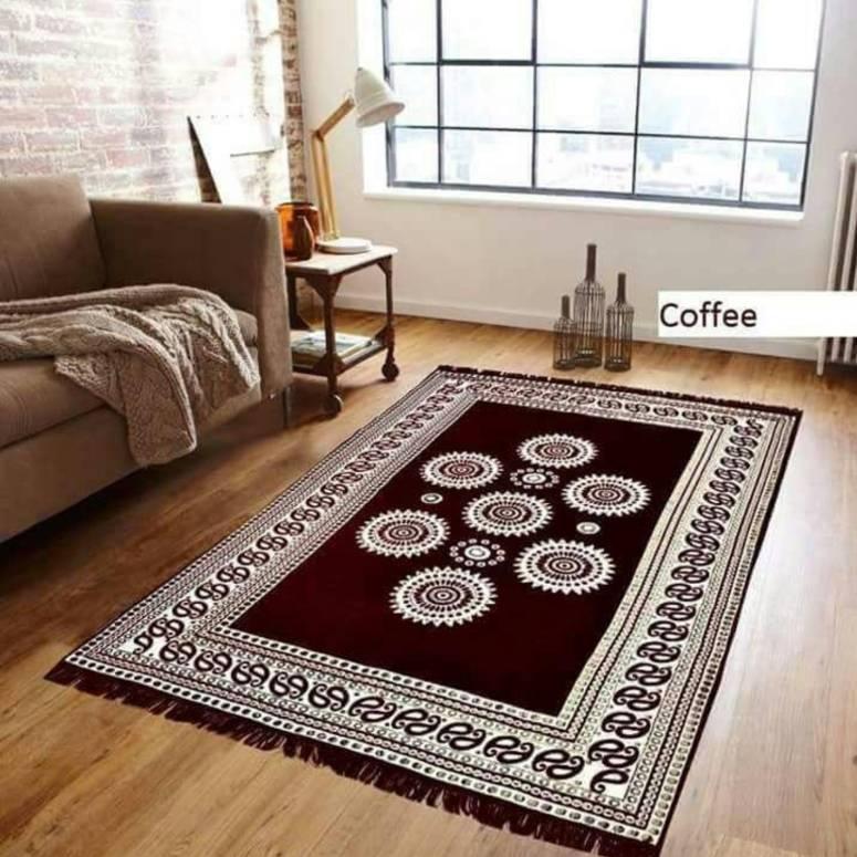 Chenille Pannel Durable Heavy Quality Carpet - (5x7 Feet) Coffee