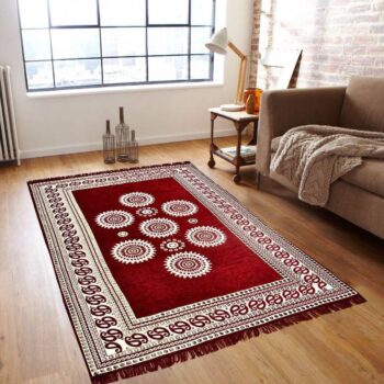 Chenille Pannel Durable Heavy Quality Carpet - (5x7 Feet) Red