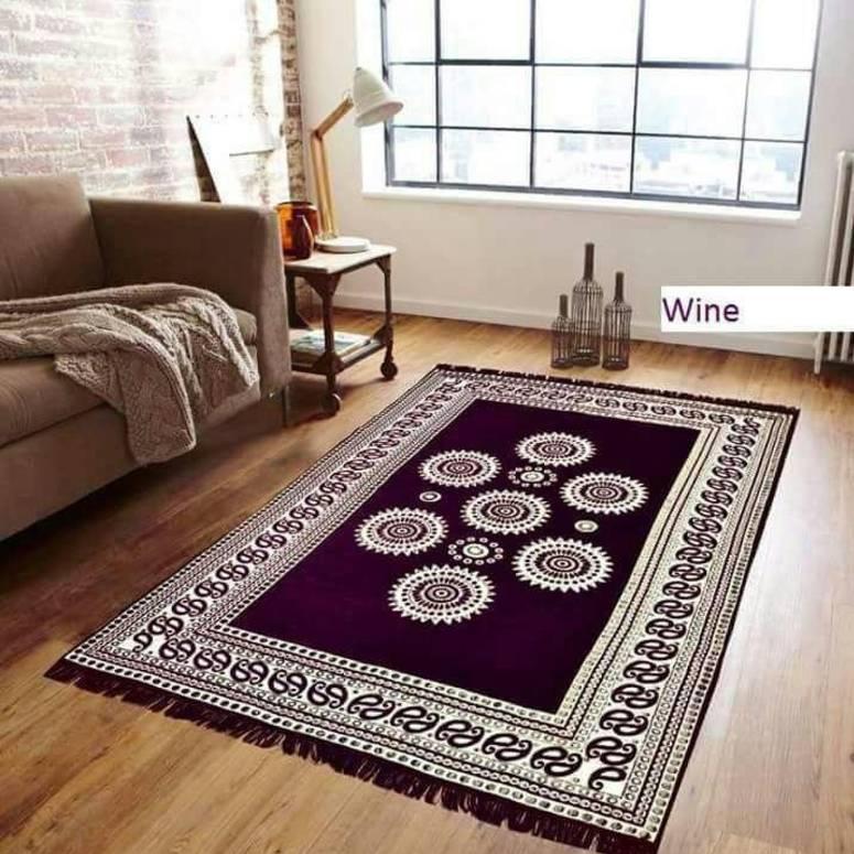 Chenille Pannel Durable Heavy Quality Carpet - (5x7 Feet) Wine