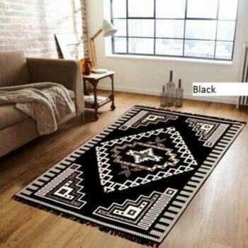 Chenille Velvet Touch Designer Ethnic Carpet (5x7 Feet) - Excellent Quality Black