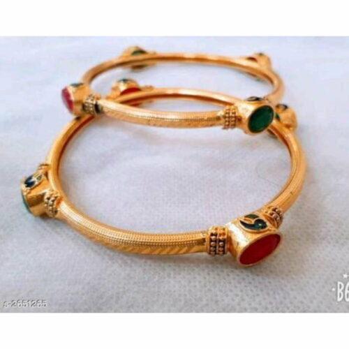 Classic Brass Embellished Bangle (Set of 2)
