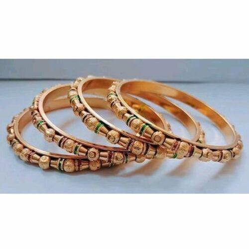 Classic Brass Embellished Bangle Set of 4
