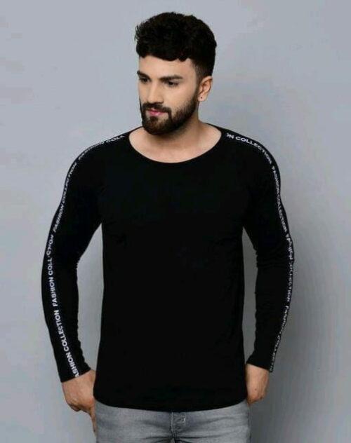 Classic Solid Plain Stylish Men Tshirts Black