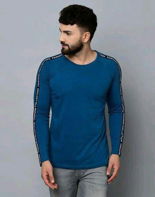 Classic Solid Plain Stylish Men Tshirts Blue