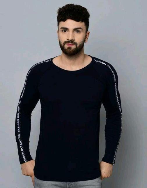 Classic Solid Plain Stylish Men Tshirts Navy