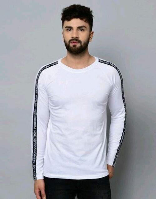 Classic Solid Plain Stylish Men Tshirts White