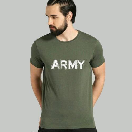 Comfy Fabulous Men Cotton T-Shirts Army