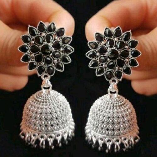 Dark Antique Floral Brass Plated Jhumki Earring