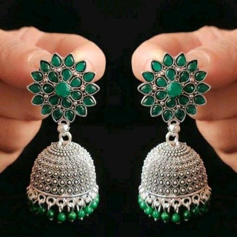 Dark Antique Floral Brass Plated Jhumki Earring 3