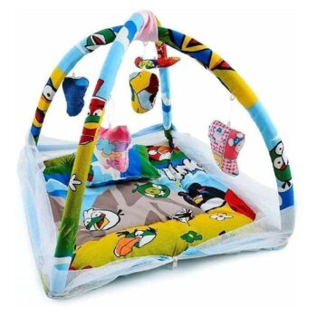 Deluxe Baby Play Gym with Mosquito Net and 5 Hanging Toys - Adorable Baby Bedding Set Angry Birds