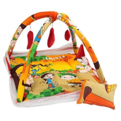Deluxe Baby Play Gym with Mosquito Net and 5 Hanging Toys Adorable Baby Bedding Set Chhota Bheem