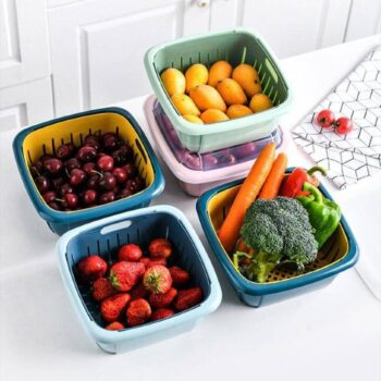 Double-layer Unique Design Refrigerator Drain Storage Basket with Lid (Pack of 5)