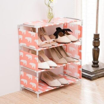 Durable 4 Tiers Shoe Rack Stackable Storage Organizer Portable for Home, Office Use (Random Color)