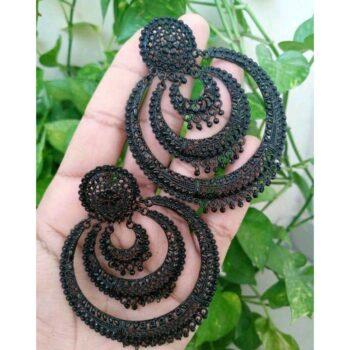 Elite Fancy Women's Black Oxidised Earrings