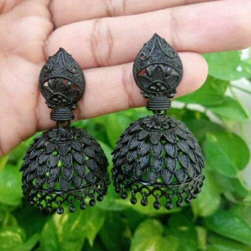 Elite Women's Traditional Black Oxidised Jhumki Earrings