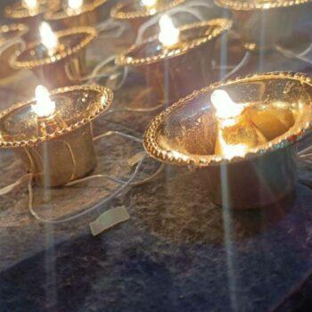 Flameless and Smokeless 17 Traditional LED Diya String Light (Brown, 10 Feet)