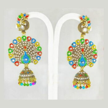 Gold Plated Oxidized Peacock Earrings Jumkha (Exclusive Limited Edition)