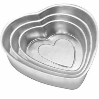 Heart Shaped Aluminium Cake Mould Mold Baking Pan Tin - Set of 3 Sizes