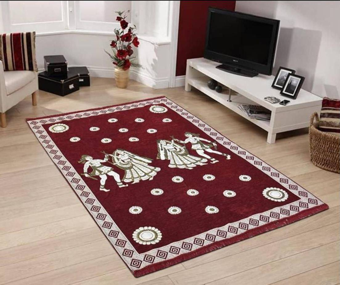 Home Decor Carpet 5x7 Feet for Living Room,Dining Hall and Child Room Chenille Touch Maroon