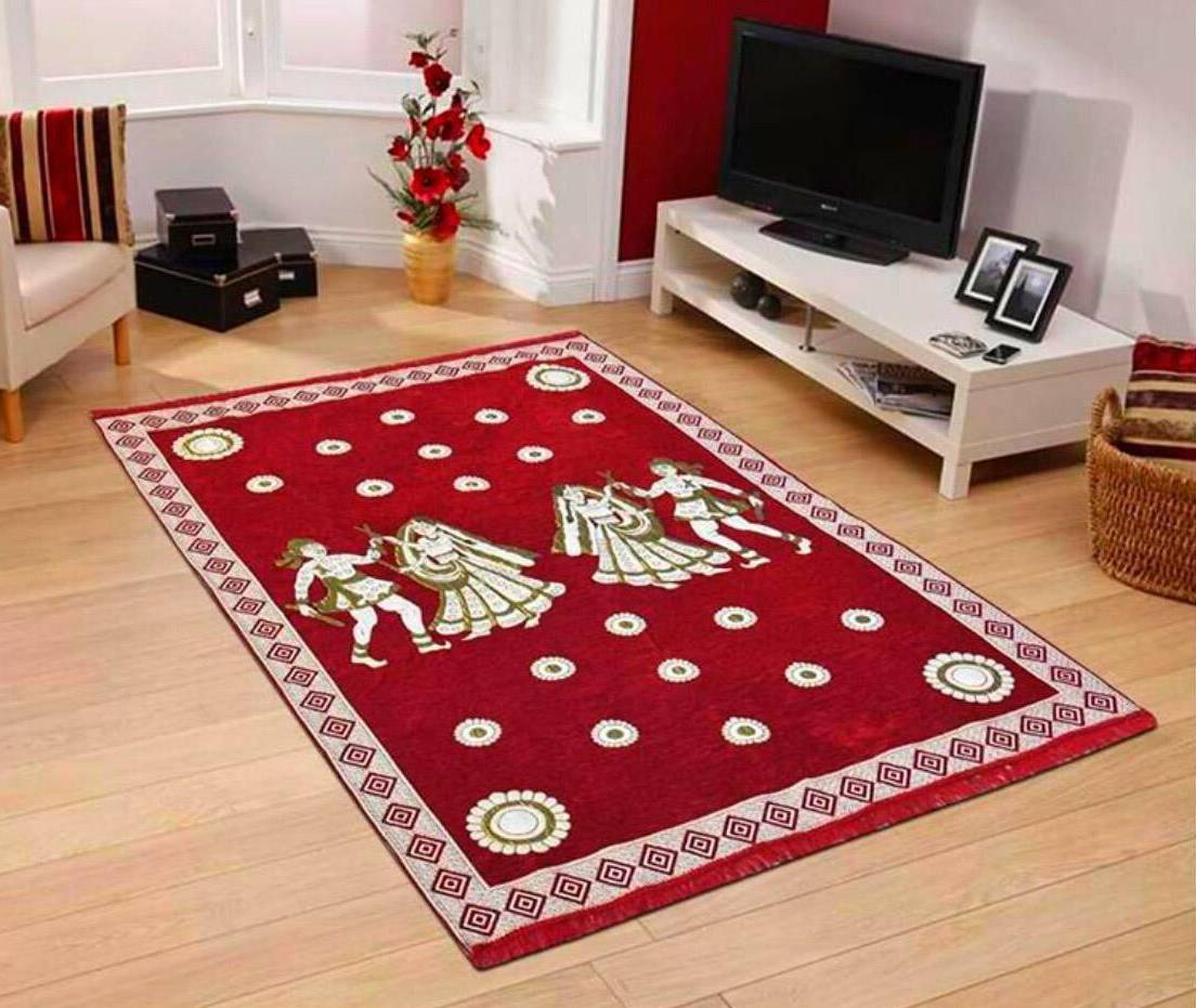 Home Decor Carpet 5x7 Feet for Living Room,Dining Hall and Child Room Chenille Touch Red