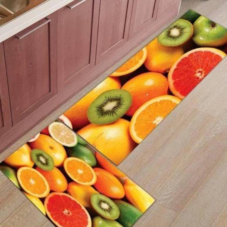 Home Decor Look Soft Anti-Skid Washable Multi Purpose Mat & Runner Set Lemon