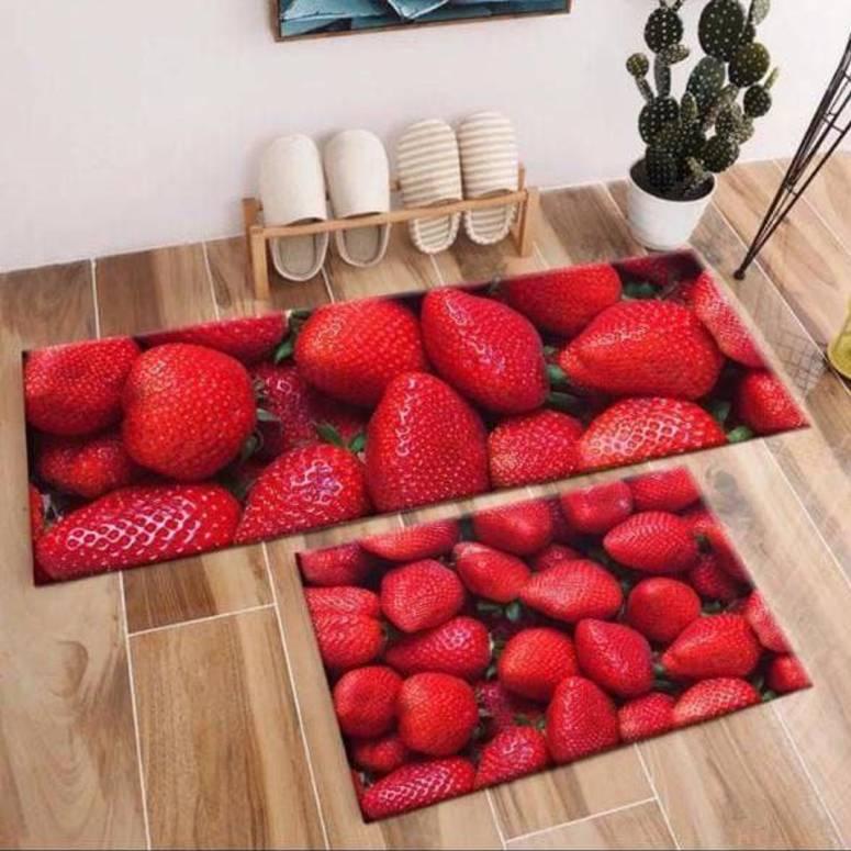Home Decor Look Soft Anti-Skid Washable Multi Purpose Mat & Runner Set Strawberry