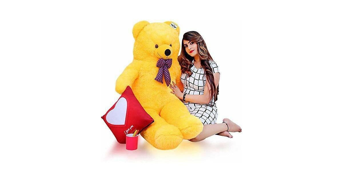 Huggable Soft Teddy Bear with Neck Bow 3-5 Feet for Someone Special Yellow
