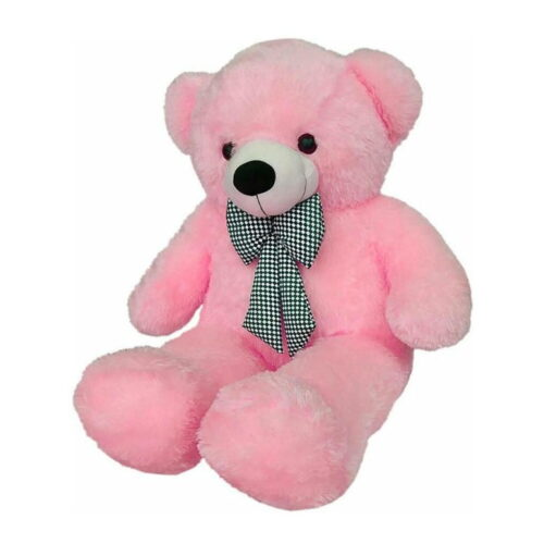 Huggable Soft Teddy Bear with Neck Bow 3-5 Feet for Someone Special Pink