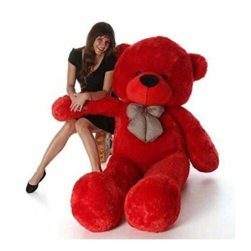 Huggable Soft Teddy Bear with Neck Bow 3-5 Feet for Someone Special Red