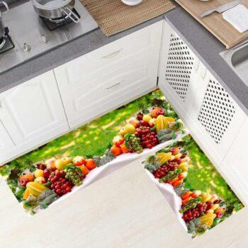 Lightweight, Thin 1 mm Anti Slip Polyester Kitchen Runner for Floor_Kitchen Mat_Bedside Runner_Living Area_Office Entrance Home Floor Mat and Runner Set