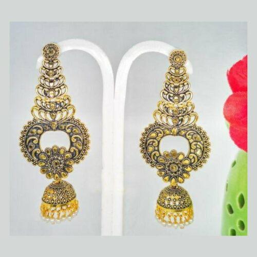 Luxurious Looks Gold Plated Jhumka Earrings (1 Pair)