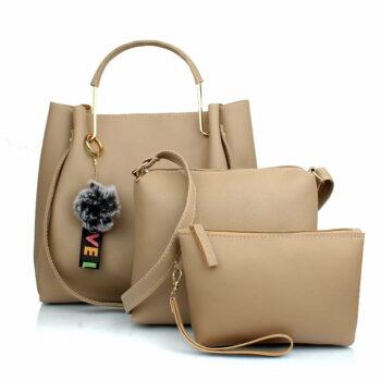 Mammon Women's Handbag With Sling Bag & Wristlet (Set of 3) Cream