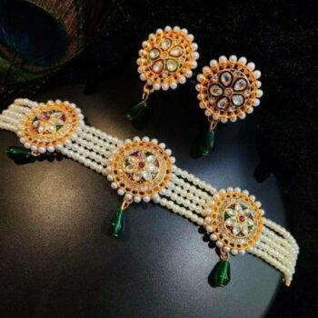Meira Jewellery Ethnic Rajputi Meenakri work Green Choker Set