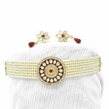 Meira Jewellery Fancy Rajasthani Red Meenakari Work Choker Set