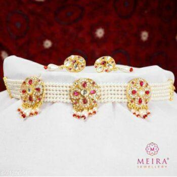 Meira Jewellery Rajasthani Pink Color Kundan Work Fancy Choker Set