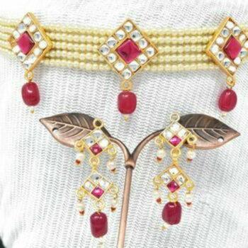 Meira Jewellery Rajputi Chik Set in Kundan and Red Stone Work