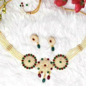 Meira Jewellery Trendy Rajputi Multy Color stone and White Moti Choker Set