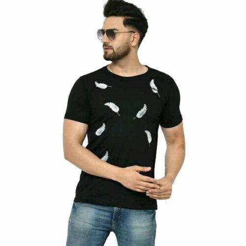 Men Graceful Round Neck Leaf Patched T-Shirts - 100% Cotton Black