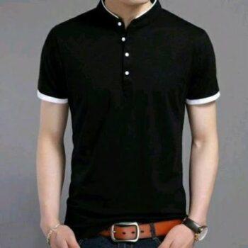 Men's Solid Regular Fit Polo Black