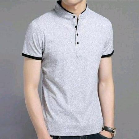Men's Solid Regular Fit Polo Grey