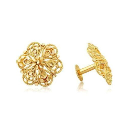 Micro Gold Plated American Stone Stud Earrings for Women