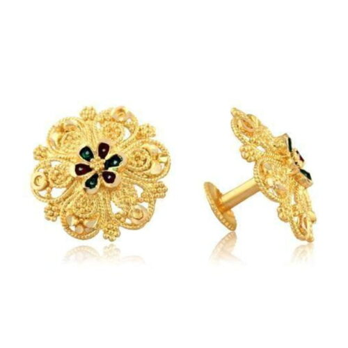 Micro Gold Plated American Stone Stud Earrings for Women 4