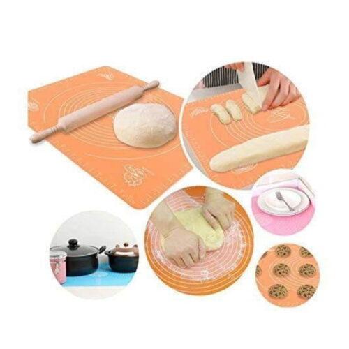 Multipurpose Silicon Rolling Fondant Mat, Large Baking Kitchen mat Sheet, Chapati Mat Atta Kneading Mat with Measurements, Stretchable for Kitchen Roti Chapati Cake