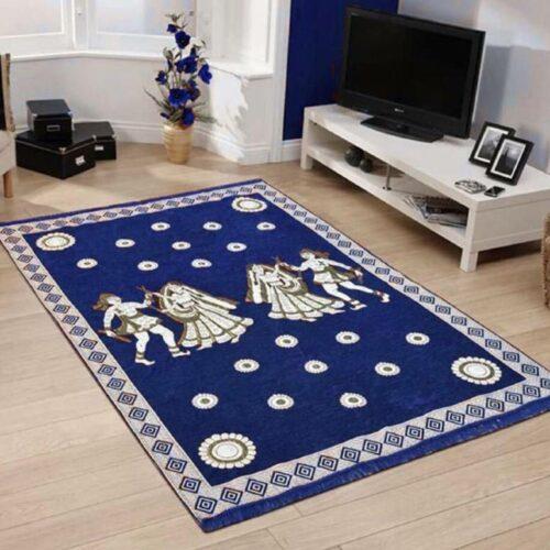 Perfect Size Kashmiri Carpet, Multi-Purpose Chenille Carpet for Bedroom, Living Room (5x7 Feet) Blue