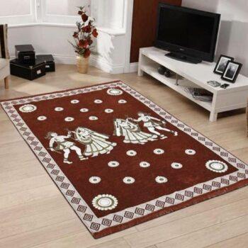 Perfect Size Kashmiri Carpet, Multi-Purpose Chenille Carpet for Bedroom, Living Room (5x7 Feet) Brown