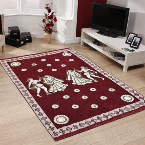 Perfect Size Kashmiri Carpet, Multi-Purpose Chenille Carpet for Bedroom, Living Room (5x7 Feet) Maroon