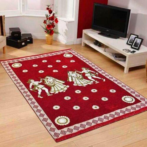 Perfect Size Kashmiri Carpet Multi Purpose Chenille Carpet for Bedroom Living Room 5x7 Feet Red