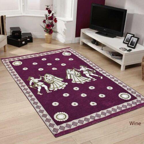 Perfect Size Kashmiri Carpet Multi Purpose Chenille Carpet for Bedroom Living Room 5x7 Feet Wine
