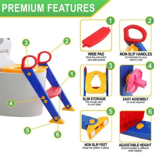 Potty Toilet Seat for Kids with Step Stool Ladder - Sturdy & Durable 3 in 1 Trainer