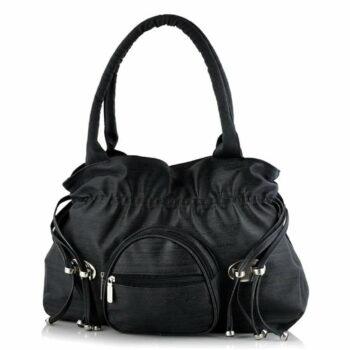 Premium PU Leather Black Women's Shoulder Handbag for College/Office Use
